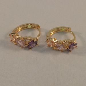 18K YGF Pink Purple Morganite Zircon Hoop Earrings